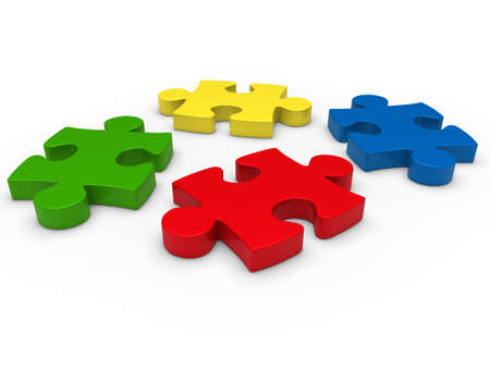 3d puzzle red blue green yellow business photo