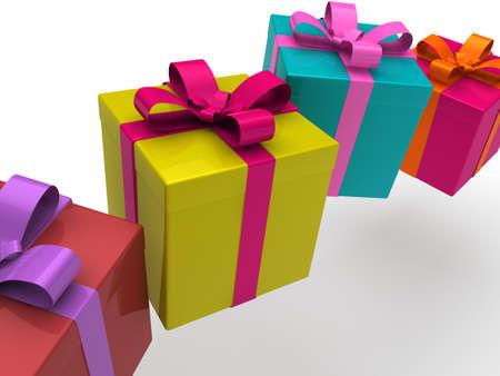 3d gift box present christmas ribbon birthday photo