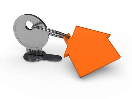 3d key orange house home security estate photo