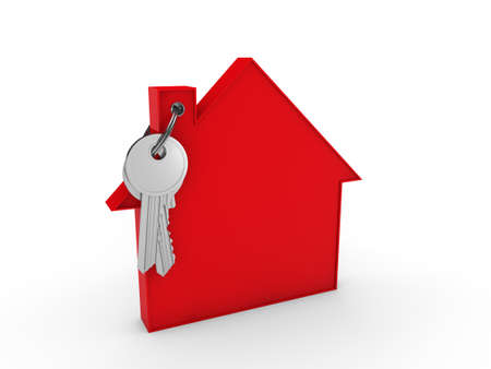 3d house key red home estate security photo