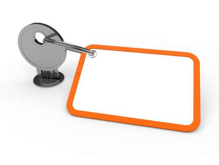3d key attached chrome label estate orange photo