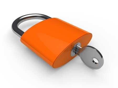gold keyhole: 3d padlock orange key safety lock lie Stock Photo