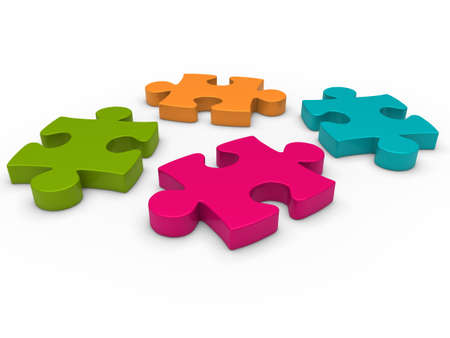 puzzles: 3d puzzle pink blue green orange business