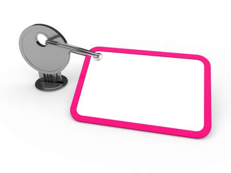 3d key attached chrome label estate pink photo