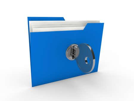 3d folder document blue data key security Stock Photo - 10620937