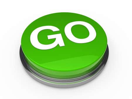 start button: 3d button go green power start push
