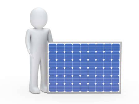 panel: 3d man solar panel blue ernergy human Stock Photo