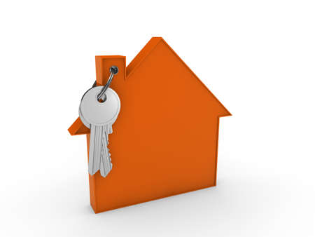 buy house: 3d house key orange home estate security Stock Photo