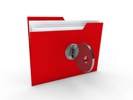 3d folder document red data key security photo