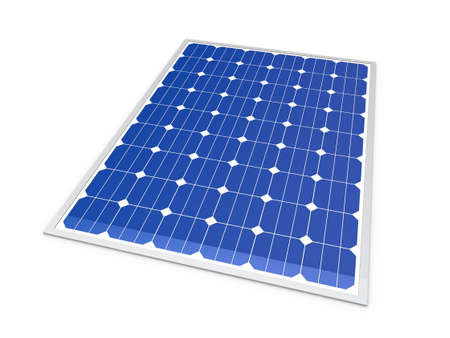 solar power station: 3d solar power energy isolated blue panel