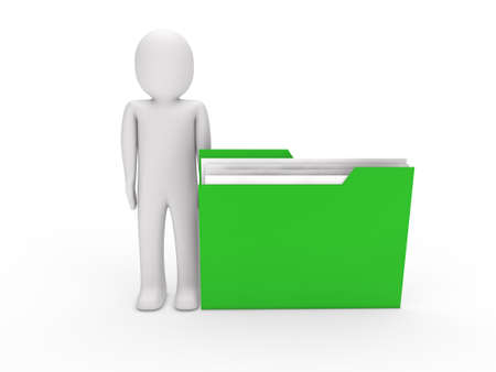 bureaucracy: 3d man file green folder document business