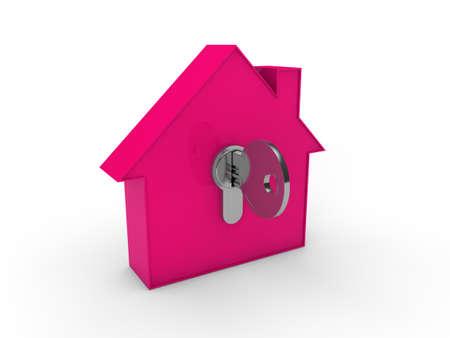 rental property: 3d house key pink home estate security