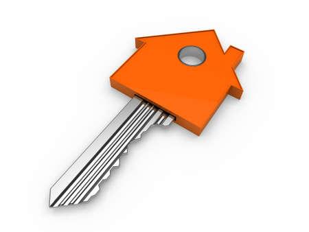 3d key home house orange estate security photo