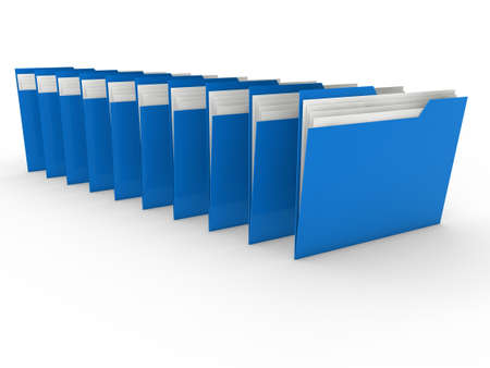 3d folder blue file paper data business photo