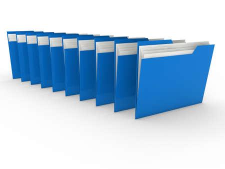 file folders: 3d folder blue file paper data business