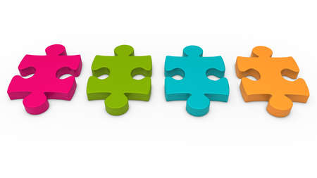 business symbols metaphors: 3d puzzle piece series pink green orange