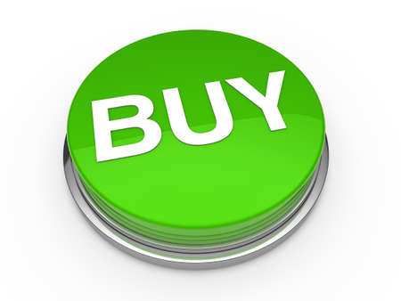 emergency cart: 3d button buy green press push click Stock Photo