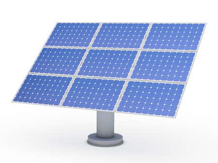 solar collector: 3d solar blue energy photovoltaic panel power