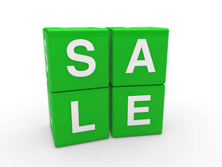3d sale cube green discount word business photo