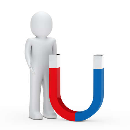 strong magnetic field: 3d man stand next magnet red blue