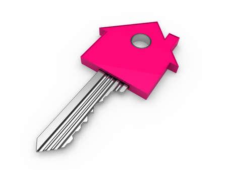 knickknack: 3d key home house pink estate security Stock Photo