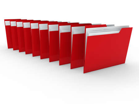 3d folder red file paper data business photo