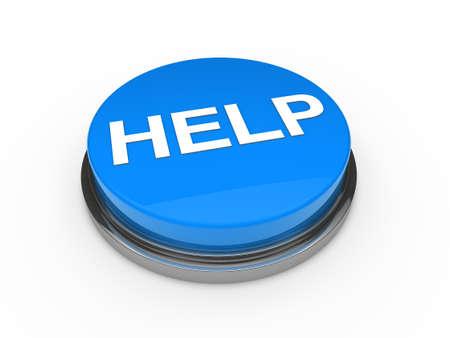 3d button help blue push emergency business Stock Photo - 10752052