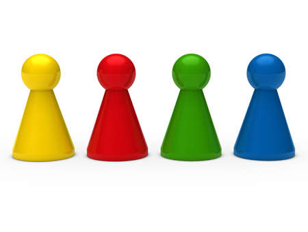 3d game figure team blue red green Stock Photo