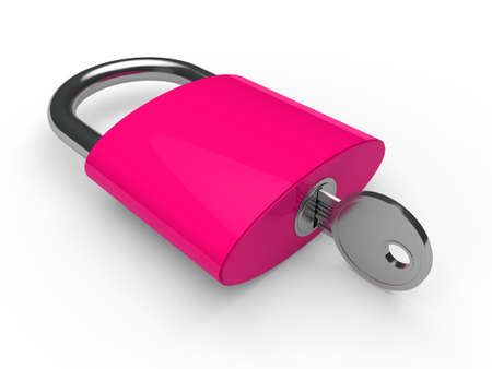 3d padlock pink key safety lock lie Stock Photo - 10792452