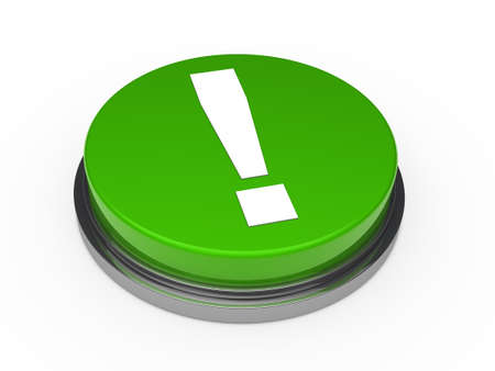 exclamation point: 3d button green with white exclamation mark  Stock Photo