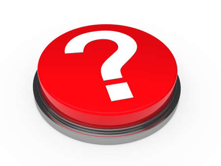3d button red with question mark sign photo