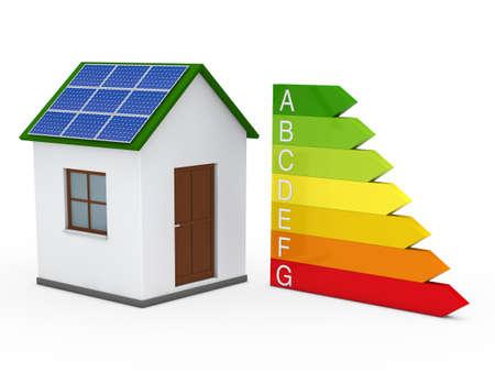 house energy: 3d house solar energy bar red green