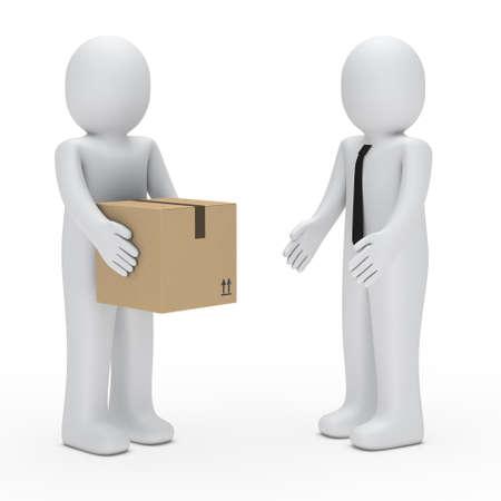 lazo regalo: hombre 3D dan pack, un hombre de negocios Foto de archivo