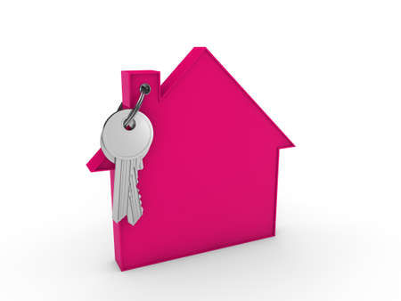 key in chain: 3d house key pink home estate security