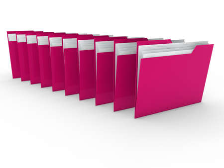 3d folder pink file paper data business photo