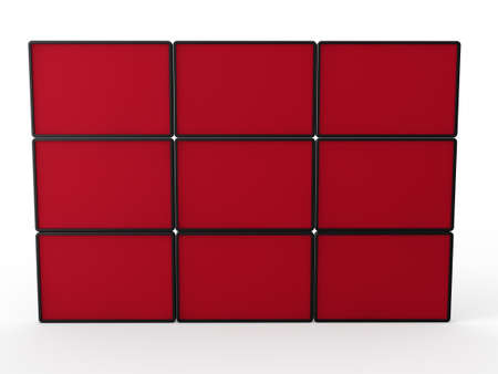 3d flat lcd wall tv red technology Stock Photo