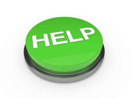 3d button help green push emergency business photo