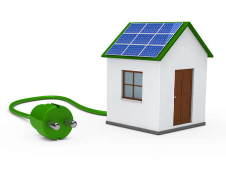 purchasing power: 3d house with solar panal plug green