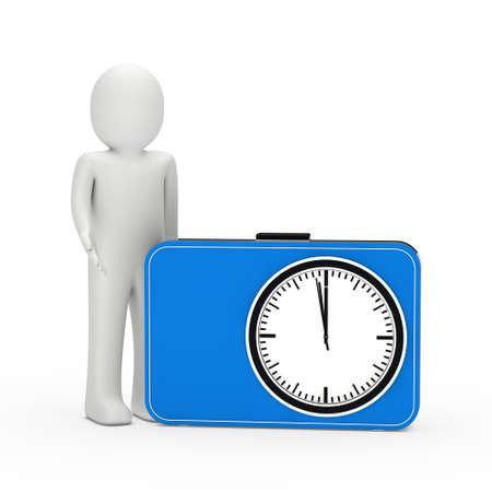 lady clock: 3d man standing next blue time clock