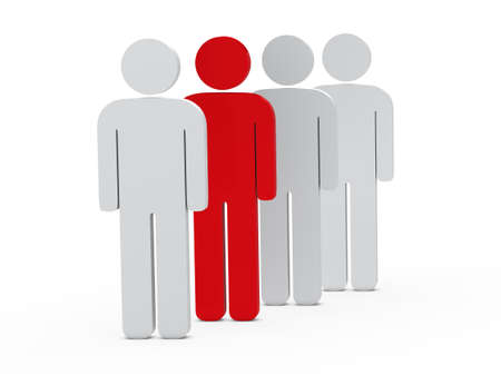 3d man leadership red stand in series photo