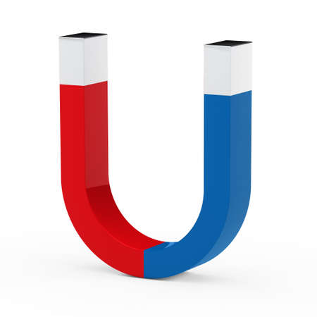 strong magnetic field: 3d magnet red blue on white floor