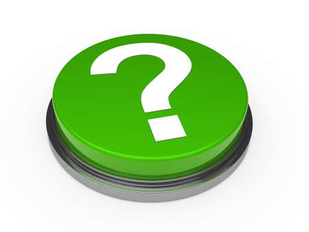 3d green questionm mark button white background Stock Photo - 10844081