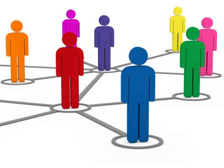 networking people: personas 3D de comunicaci�n social de la red colorido trabajo en equipo Foto de archivo
