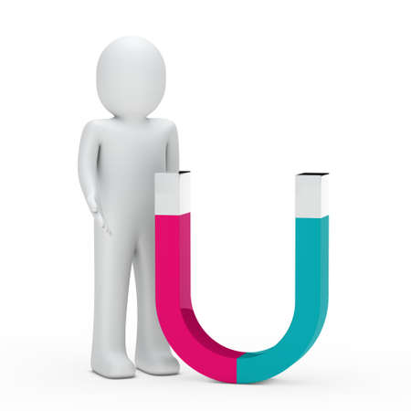 strong magnetic field: 3d man stand next magnet pink green
