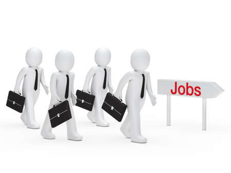 good job: 3d business man run for a job
