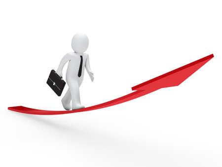 3d business man run on red arrow Stock Photo - 10980446