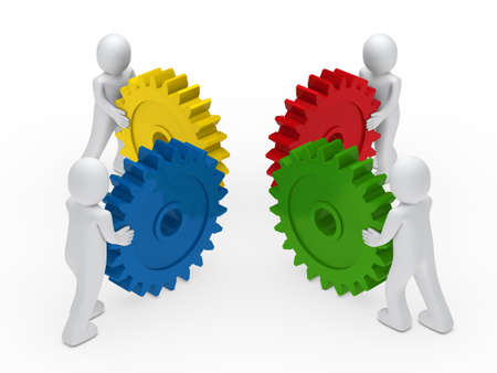 3d business men push a gear colorful photo