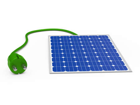 3d solar power panel with green plug photo