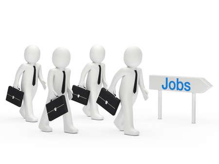 trabajos: 3d hombre de negocios postularse para un puesto de trabajo Foto de archivo