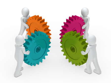 3d business men push a gear colorful photo